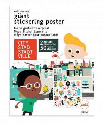 Stickerposter Makii City Stad Lievelings