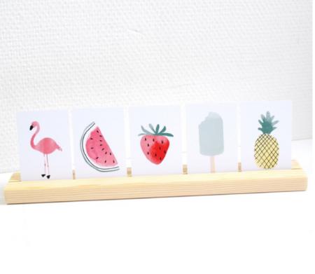 Miekinvorm mini kaartjesset Aardbei, flamingo, ananas, ijsje, aardbei Lievelings
